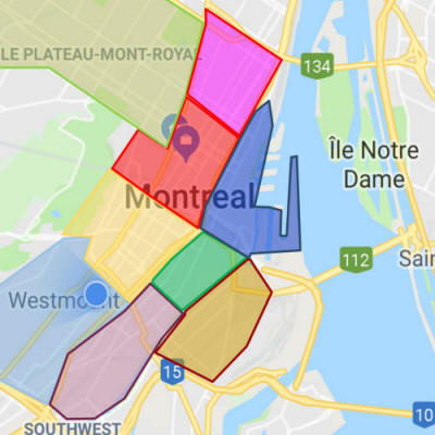 Map of Montreal neighbourhoods Downtown Realty Team